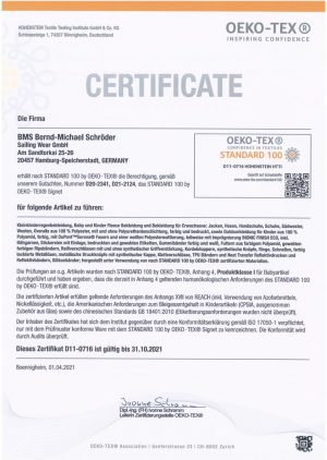 OekoTex Zertifikat - deutsch